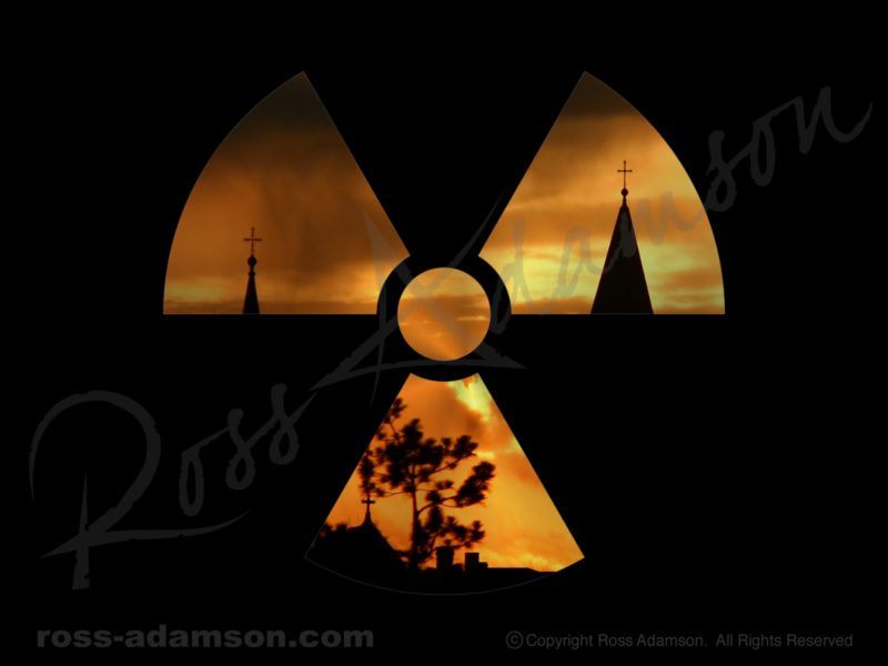Vector graphic: Radioactive hazard symbol with photo of church at sunset.