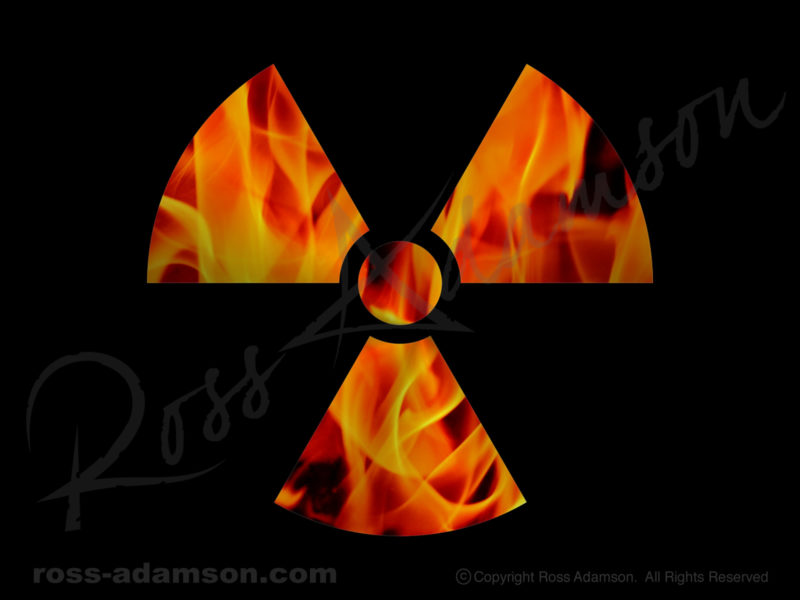 Vector graphic: Radioactive hazard symbol with photo of flames.