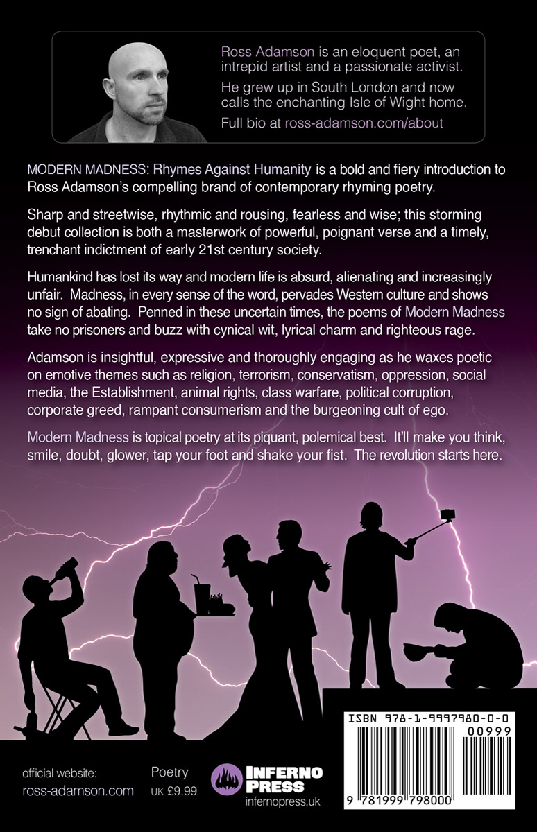 Back cover image of the poetry collection Modern Madness: Rhymes Against Humanity, by poet Ross Adamson